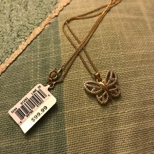 Jewelry - Gold-Plated Butterfly Pendant NWT